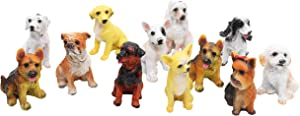 12 Pcs Dog Miniature Figurines Mini Animals Resin Dog Figurines Fairy Garden Miniature Moss Landscape DIY Terrarium Crafts Ornament Accessories for Home Décor