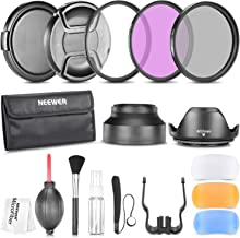 Neewer 58MM Camera Lens Filter Accessory Kit Compatible with Canon Rebel T5i T4i T3i T3 T2i T1i EOS 700D 650D 600D 550D 500D 450D with Lens Hoods, Flash Diffuser Set, Lens Caps, Cleaning Kit