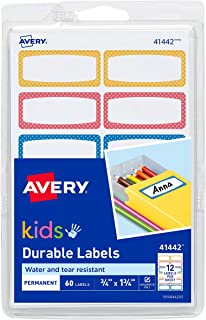 """Durable Labels for Kids' Gear, Assorted Border Colors, Handwrite, 3/4"""" x 1-3/4"""", 60 Labels - New"""