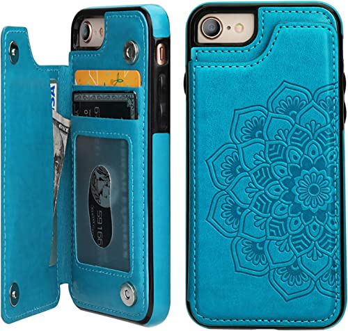 iPhone 7iPhone 8Case Wallet with Card Holder,Vaburs Embossed Mandala PatternFlower Premium PU Leather Double Magne...