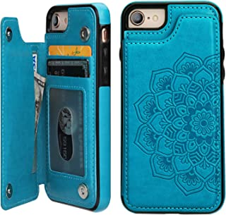 iPhone 7iPhone 8Case Wallet with Card Holder,Vaburs Embossed Mandala PatternFlower Premium PU Leather Double Magnetic Buttons Flip Shockproof Protective Case(Blue)