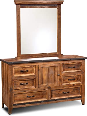 Sunset Trading Rustic City Dresser and Mirror, Industrial Metal Accents, Natural Oak