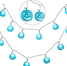 Teal Pumpkin Halloween Fairy String Lights Party Decorations (20 Count) - LED Jack O Lantern Indoor/Outdoor Light Decor w/...