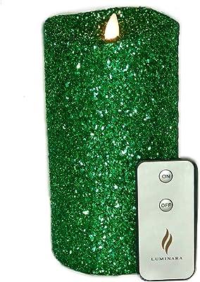 "Luminara Vintage Green Glitter 7"" Flameless Pillar Candles w/Remote"
