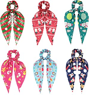 Christmas Scrunchies Hair Scarf for Women Girls, Funtopia 6 Pcs Ribbon Bow Scrunchies Satin Hair Scarfs with Christmas Patterns, Cute Scarf Hair Ties Bowknot Ponytail Holder