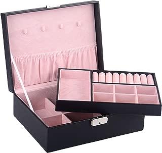 Kendal 2 Trays Black Leather Jewelry Box Case Storage Organizer with Lock LJT004BK