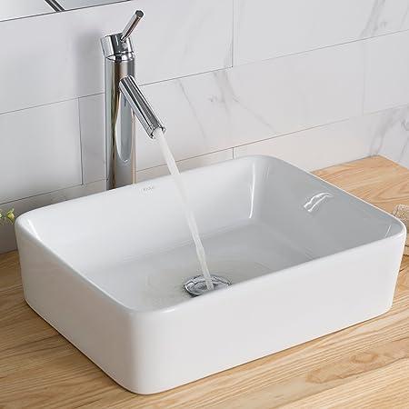 Kraus KCV-121 - Lavabo rectangular de cerámica para baño, color blanco, Moderno/Tradicional, Sink