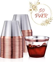 50 Rose Gold Party Cups 9 Oz Clear Plastic Cups Old Fashioned Tumblers | Rose Gold Rim Disposable Hard Party Cups for Wedding, Parties, Fancy Bridal Shower Decor