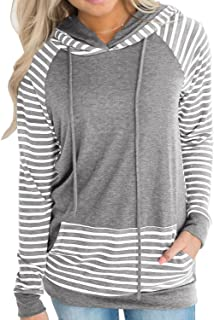 Naier Womens Fall Clothes Hooded Sweatshirt Pullover Hoodie Striped Sweaters