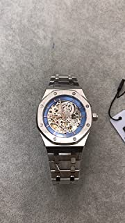 Luxury Brand Stainless Steel Silver Color Partially Blue dial Automatic Movement Skeleton Oak Watch Watches