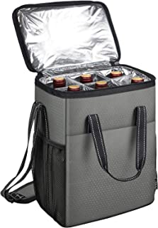 6 Bottle Wine Carrier - Insulated & Padded Wine Carrying Cooler Tote Bag for Travel, Camping and Picnic, Ideal Wine Lover ...