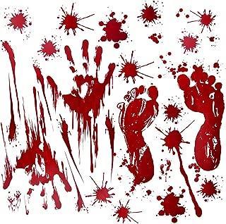 Fantech 86PCS Halloween Party Indoor Decorations, Halloween Window Stickers Clings Decals Horror Bloody Handprints&Footprints Stickers Halloween Decor Vampire Zombie & Horror Bathroom Party Decorat