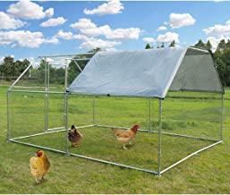 Large Metal Chicken Coop Walk-in Poultry Cage Hen Run House Rabbits Habitat Cage Flat Roofed Cage with Waterproof and Anti-Ultraviolet Cover for Outdoor Backyard Farm Use (9.2' L x 12.5' W x 6.4' H)