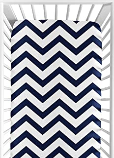 Sweet Jojo Designs Fitted Crib Sheet for Navy and White Chevron Baby/Toddler Bedding - Zig Zag Print