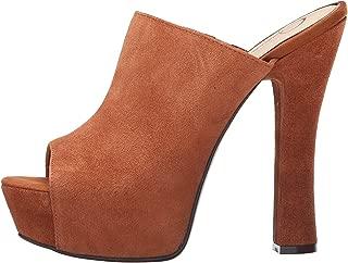 Jessica Simpson Women's Shoes Finnie Platform Open Toe Mule Luggage Suede