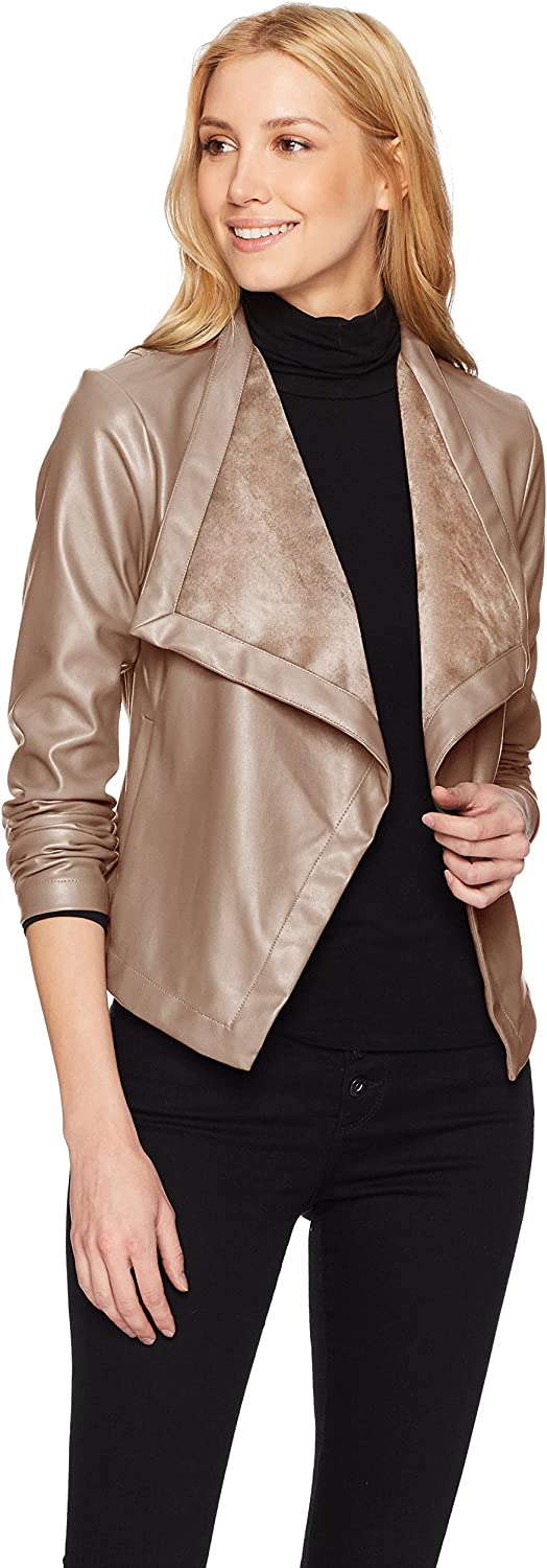 BB Dakota Womens Gracelyn Drape Front Vegan Leather Jacket Jacket