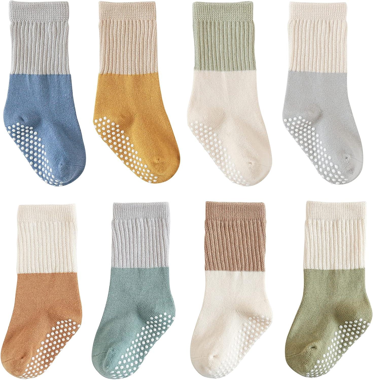 J Poqobog Toddler Baby Girls Boys Socks - Cotton Crew Socks for Baby Gifts Pack Cotton Rich Knee-high Socks set