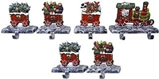 Lulu Decor, 100% Cast Iron Christmas Stocking Holders, 2D Train Engine with 5 Rail carts, 7 Stocking Hooks, Beautiful & Strong Sturdy Heavy Hooks, Each Weighs Approx 3 lb (Combo Train 2D)