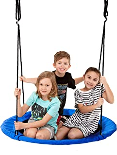 Smartsome Flying Saucer Tree Swing - 40 Inch Redesigned Tire Swing for Hours of Outdoor Fun, Patented Quick and Easy Assembly, Great Kids Swing for Trees Or Playsets. (Blue)