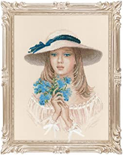 "RIOLIS Premuim 100/045 - Forget Me Not - Counted Cross Stitch Kit 11.75"" x 15.75"" Zweigart 14ct. Beige AIDA 19 Colors"