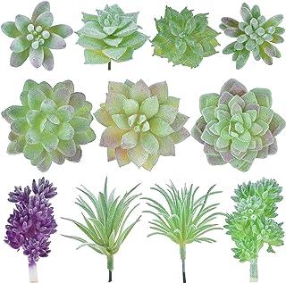 جيبور 11 قطعة من النباتات النضرة الصناعية غير أماكن متنوعة فو نضرة وهمية عصارية لإعداد الزهور لتزيين المنزل