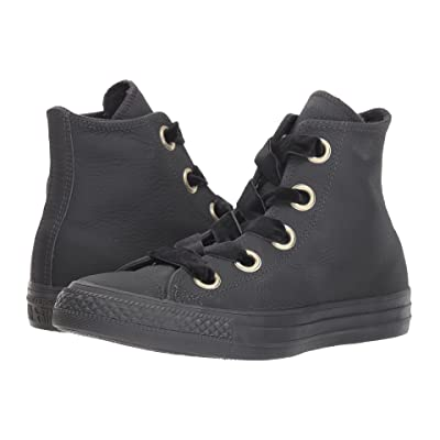 Converse Chuck Taylor All Star Big Eyelet Leather Hi (Almost Black/Almost Black/Gold) Women
