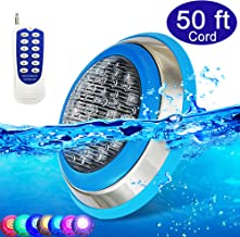 CNBRIGHTER LED Underwater Swimming Pool Lights,54W RGB Color Changing, 12V AC,50ft Cord Wall Surface Mounted IP68 Waterproof,Stainless Steel,with Remote Controller (50ft Cord)
