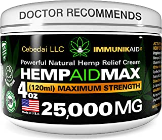25000Mg Premium Hemp Cream for Pain Relief - 4oz Pure Hemp Oil Extract - Made in USA - Extra Strength Natural Massage Loti...