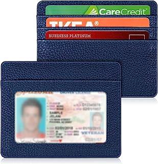 کیف پول جیبی جلوی مینیمالیستی باریک ، کارتهای بانکی کارت اعتباری مسدود کننده RFID با پنجره شناسنامه برای مردان زن