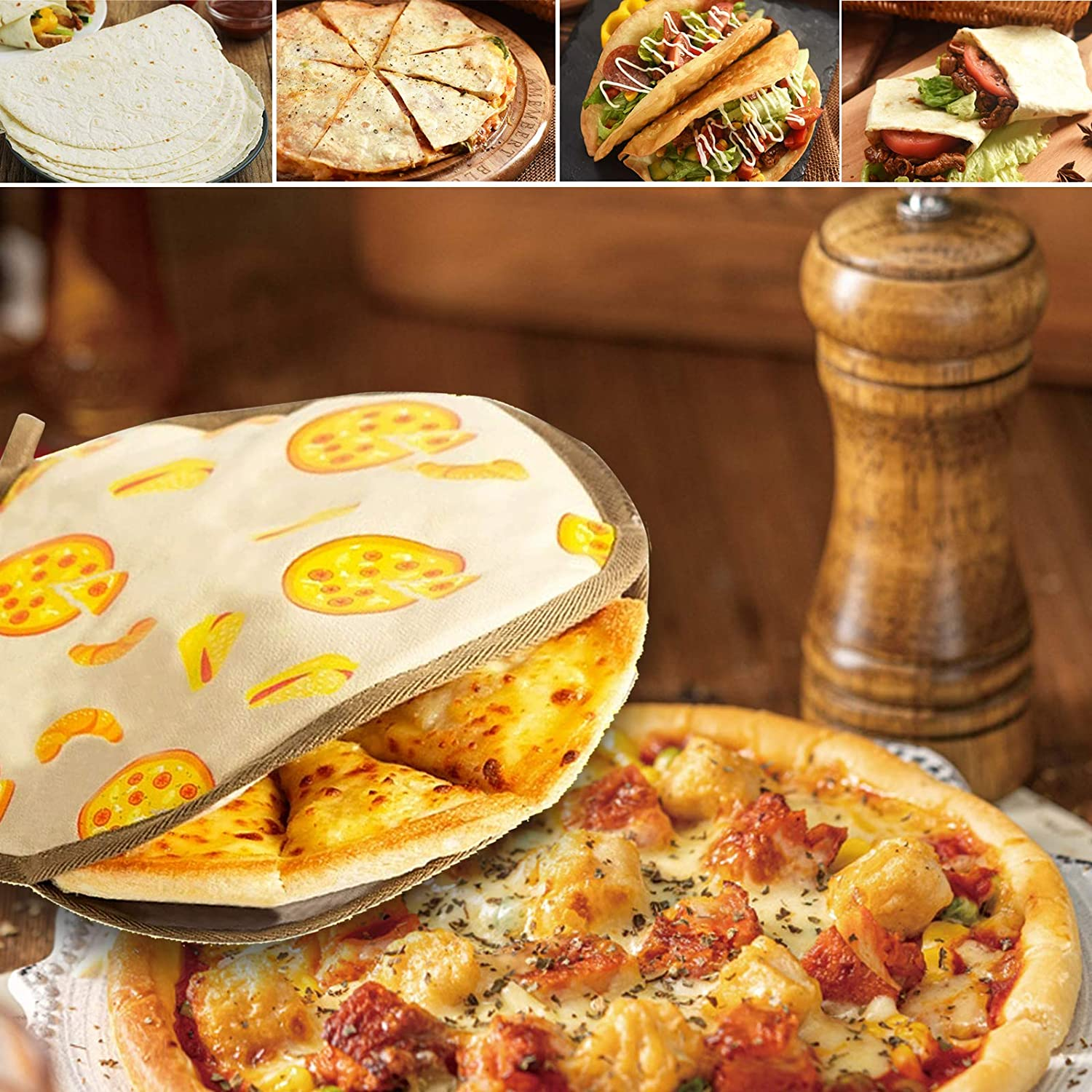"""Yellow Pizza Fabric Pouch to Keep Tortillas soft and Warm for up to One Hour for Flour Tortillas Naan Bread Taohuakai 2 Pack Tortilla Warmer 12/"""" Insulated and Microwaveable"""