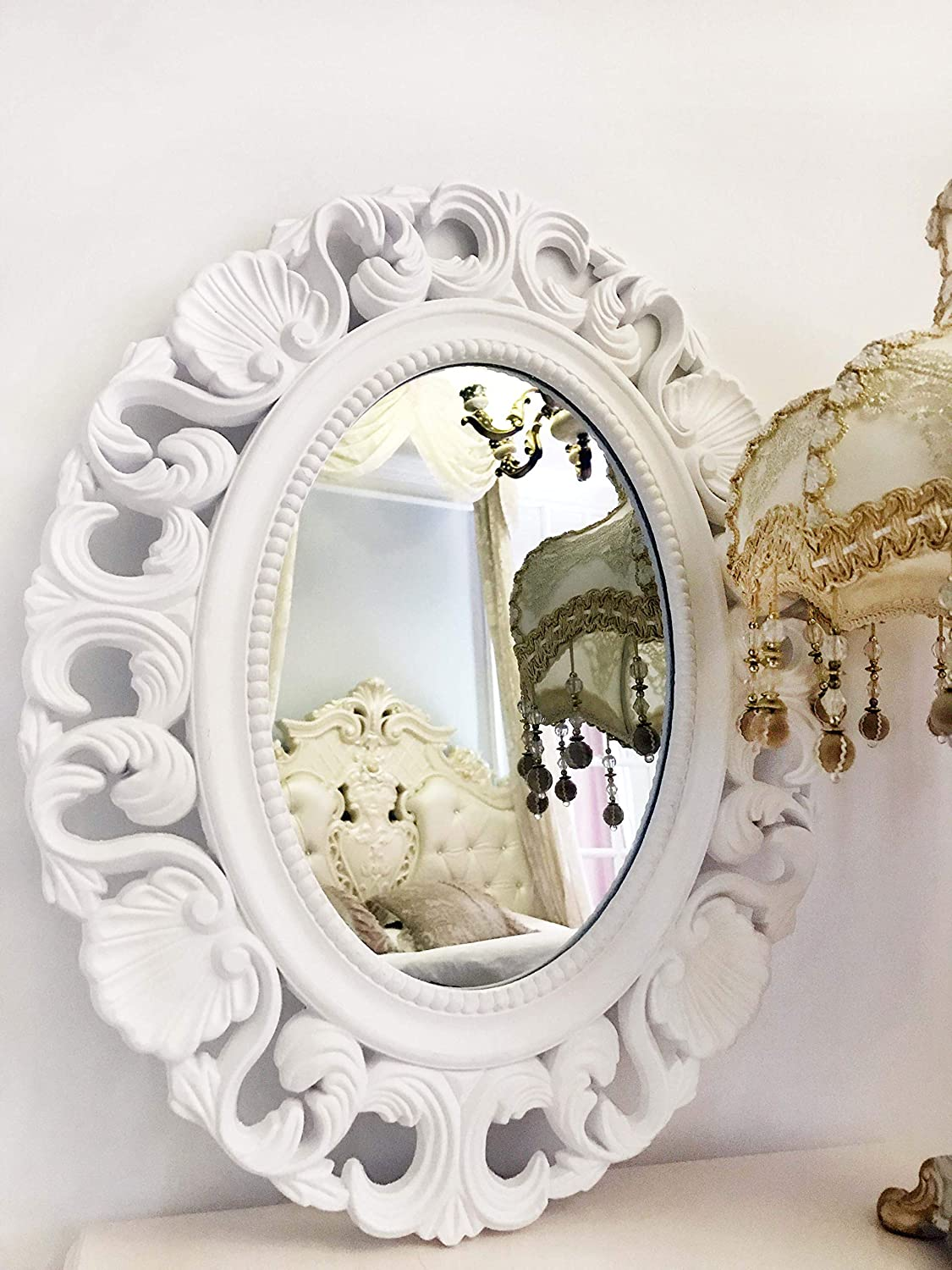 Basswood Hunters Oval Vintage Decortative Wall Mirror, White Wooden Frame, Antique Princess Decor for Bedroom,Bathroom, Living Room,Playroom,Dressers 21''x 17''