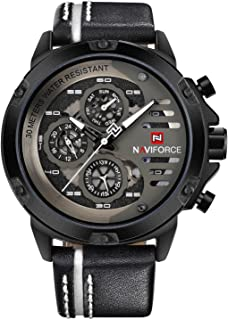 Relógio Masculino Naviforce 9110 - Preto com Branco