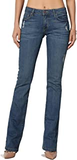 TheMogan Vintage Versatile Washed Stretch Denim 32 Mid Rise Slim Boot Cut Jeans