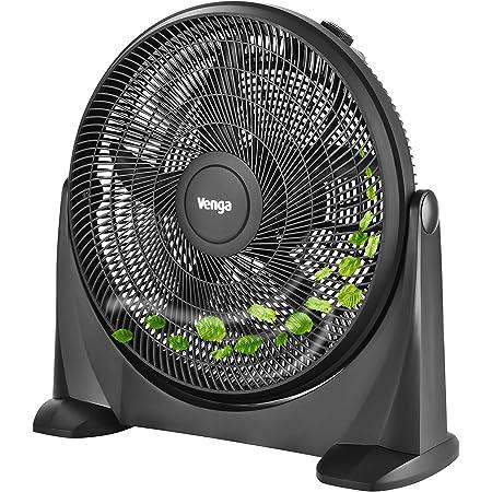 Venga! VG VT 3041 Ventilateur à 5lames et 3vitesses, 50cm, 90W, Noir