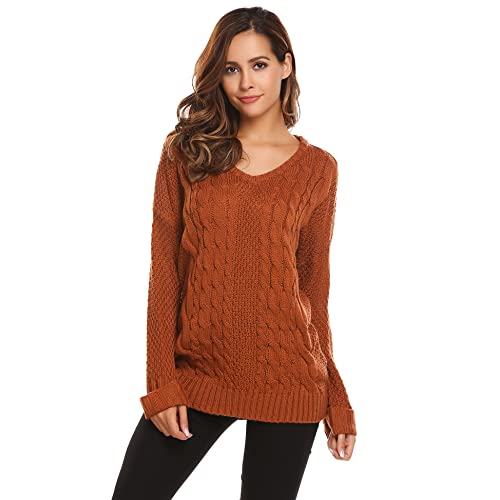 b888d5a80ad EASTHER Women s Fashion Oversized Knitted V Neck Casual Pullovers Sweater