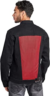 Color Block Denim Jacket with Pocket Detail For Men Realm by Styli
