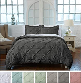 Signature Pinch Pleated Pintuck Duvet Cover 3 Piece Set with Button Closure. Luxuriously Soft 100% Brushed Microfiber with Textured Pintuck Pleats and Corner Ties (Full/Queen, Steel Grey)