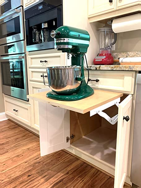Amazon Com Wood Technology Kitchen Appliance Lift White With Self Locking Spring Mechanism For Heavy Appliance Storage And Space Savings Home Kitchen