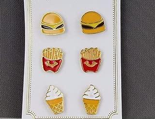 Burger Fries Ice cream cone post earrings 3 pair set pack stud enamel painted R-530