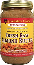 Fresh Raw Smooth-Creamy Almond Butter Pure Certified Organic Low-Temp-Ground In-Glass Artisan-Ayurvedic-Vegan Vitamin-Protein-Antioxidant-Mineral-Nutrition Rejuvenative Foods-16 oz