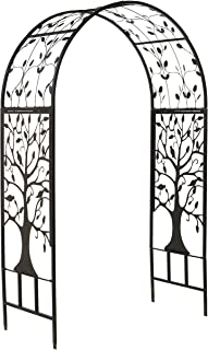 Plow & Hearth Metal Garden Arbor with Tree of Life Design, Made of 100% Steel, Black and Burnished-Bronze Finish