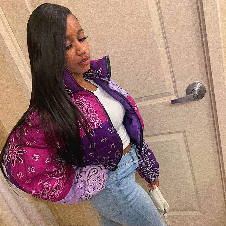 Donna Inverno Puffer Jacket Corto Giacca Piumino Baggy con Zip Moda Stampato Giacche di Piuma Leggero