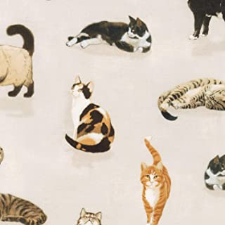 Robert Kaufman Cat Fabric - Whiskers & Tails - Natural Cats - Digital Print - 100% Cotton - by The Yard
