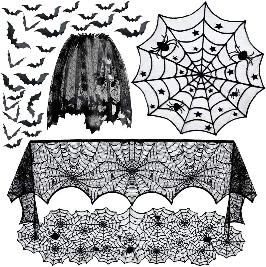 Sale 5pack Halloween Decorations Tablecloth Runner S Black Lace Genuine Free Shipping Round