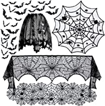 5pack Halloween Decorations Tablecloth Runner Black Lace Round Spider Cobweb Table Cover Fireplace Mantel Scarf Spiderweb ...