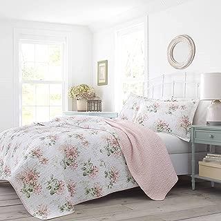 Laura Ashley Honeysuckle Quilt Set, Full/Queen, Pastel Pink