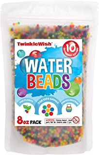 TwinkleWish Water Beads for Kids Sensory Play, Rainbow Mix Colored Edition, Marble Sized, Compatible with Orbeez Refill