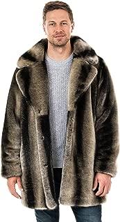 Mens Grey Chinchilla Notch-Collar Faux Fur Coat