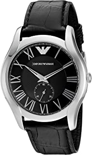 Emporio Armani Valente Men's Black Dial Leather Analog Watch - AR1703