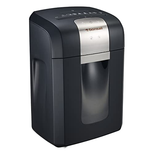 Bonsaii EverShred Pro 3S16 12-Sheet Heavy Duty Cross-Cut Paper/CD/Credit Card Shredder, 58 dB Low Operation Noise, Pullout Basket and 4 Casters, Black